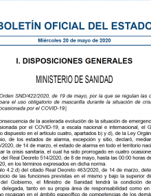 Boletín Oficial del Estado – Uso obligatorio de mascarilla