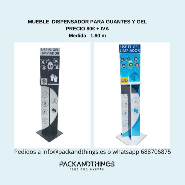 Mueble dispensador para guantes y gel – Packandthings