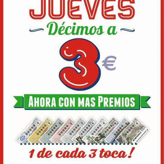 AHORA LOS JUEVES MAS PREMIOS, DECIMOS A 3€ – Administración de Lotería nº2