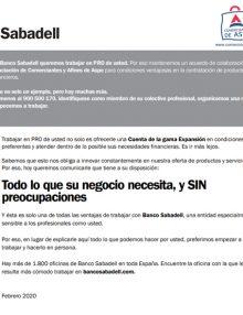 Todo lo que su negocio necesita, y SIN preocupaciones – Banco Sabadell